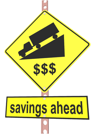 rockslide: road sign and a sign with the text savings ahead