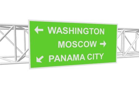 moscow city: three-dimensional illustration of a road sign with directions: WASHINGTON; MOSCOW; PANAMA CITY