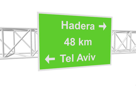 tel: three-dimensional illustration of a road sign with directions: Tel Aviv; Hadera; distance