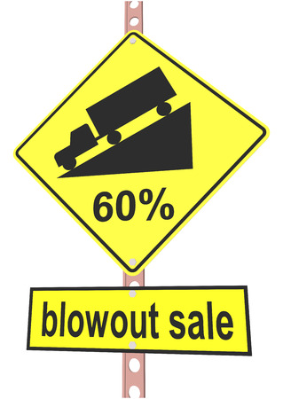 off highway: Yellow road sign with 60% discount message and sale alert