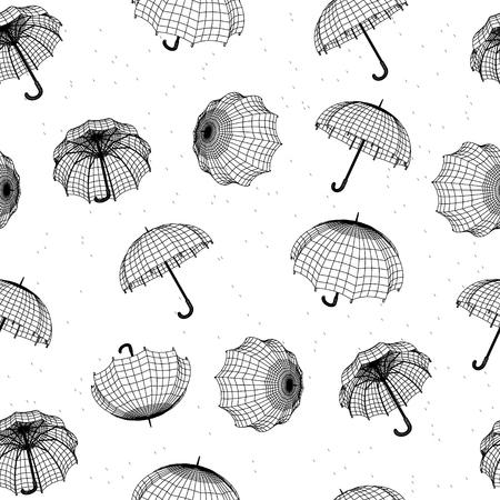 gotas de agua: patrón de lluvias sin fisuras con los paraguas y las gotas de lluvia