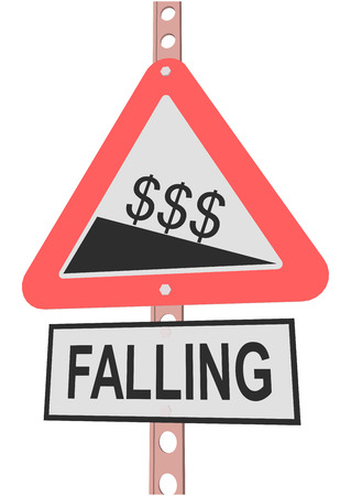 financial cliff: road sign and a sign with the text FALLING