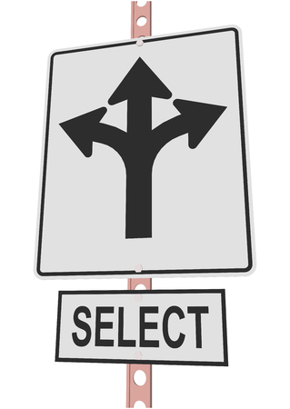 bifurcation: road sign and a sign with the text SELECT Illustration