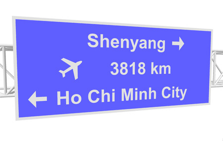 chi: three-dimensional illustration of a road sign with directions: Shenyang; Ho Chi Minh City; distance