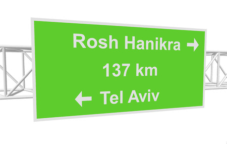 tel: three-dimensional illustration of a road sign with directions: Tel Aviv; Rosh Hanikra; distance