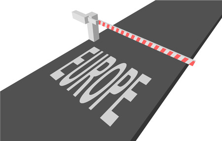 escape route: closed gate and the text on the pavement: EUROPE