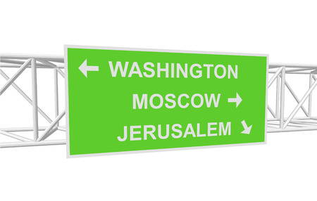 jerusalem: three-dimensional illustration of a road sign with directions: WASHINGTON; MOSCOW; JERUSALEM