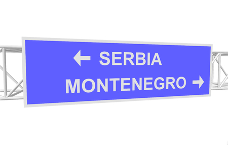 serbia and montenegro: three-dimensional illustration of a road sign with directions: SERBIA; MONTENEGRO