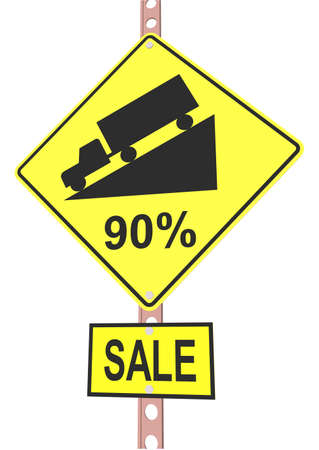 Yellow road sign with 90% discount message and sale alert