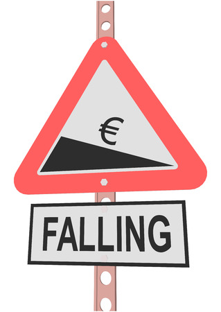 decline in values: road sign and a sign with the text FALLING
