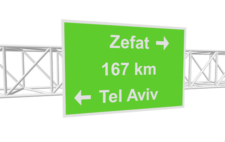 tel aviv: three-dimensional illustration of a road sign with directions: Tel Aviv; Zefat; distance