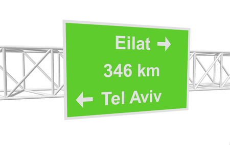 tel: three-dimensional illustration of a road sign with directions: Tel Aviv; Eilat; distance