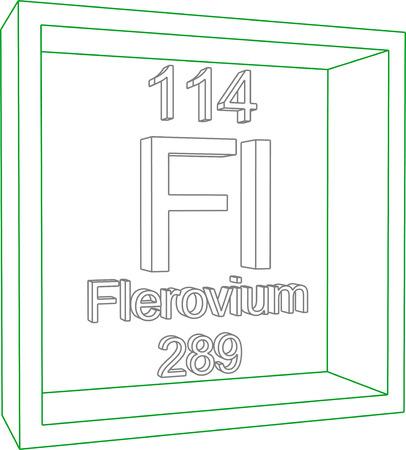 graphic flerovium: Periodic Table of Elements - Flerovium Illustration