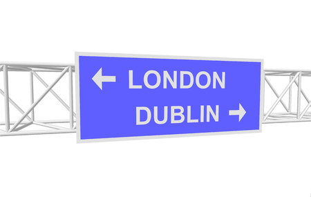 dublin: three-dimensional illustration of a road sign with directions: LONDON; DUBLIN