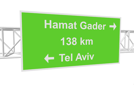 tel aviv: three-dimensional illustration of a road sign with directions: Tel Aviv; Hamat Gader; distance