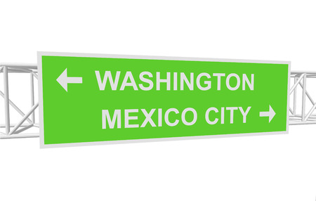 mexico city: three-dimensional illustration of a road sign with directions: WASHINGTON; MEXICO CITY Illustration