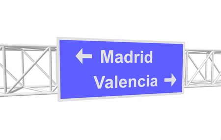 valencia: three-dimensional illustration of a road sign with directions: Madrid; Valencia