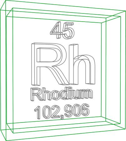 rhodium: Periodic Table of Elements - Rhodium Illustration