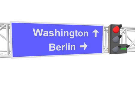 entrance is forbidden: traffic light and a sign with the text: Washington; Berlin