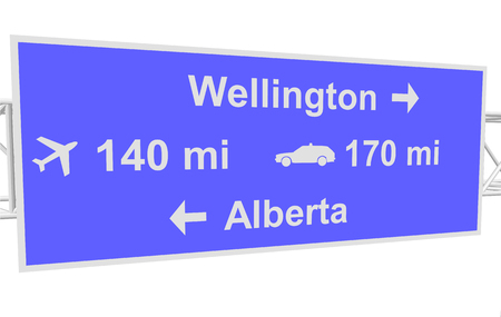 alberta: three-dimensional illustration of a road sign with directions: Wellington; Alberta; distance