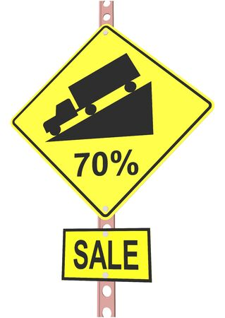 off highway: Yellow road sign with 70% discount message and sale alert Illustration