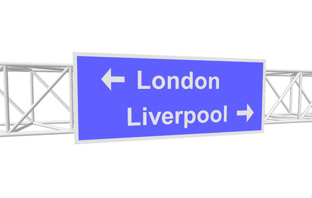 liverpool: three-dimensional illustration of a road sign with directions: London; Liverpool