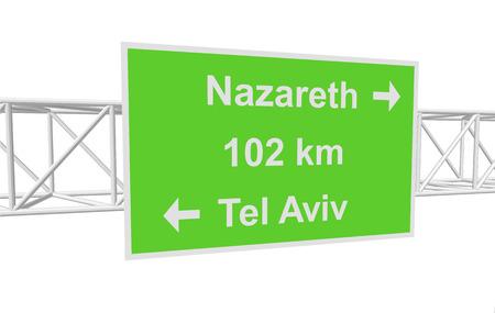 nazareth: three-dimensional illustration of a road sign with directions: Tel Aviv; Nazareth; distance Illustration