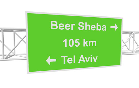 tel aviv: three-dimensional illustration of a road sign with directions: Tel Aviv; Beer Sheba; distance