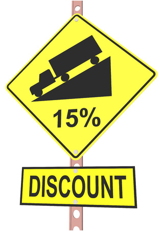 off highway: Yellow road sign with 15% discount message and sale alert