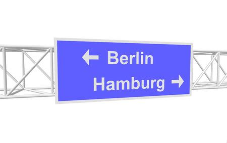 hamburg: three-dimensional illustration of a road sign with directions: Berlin; Hamburg