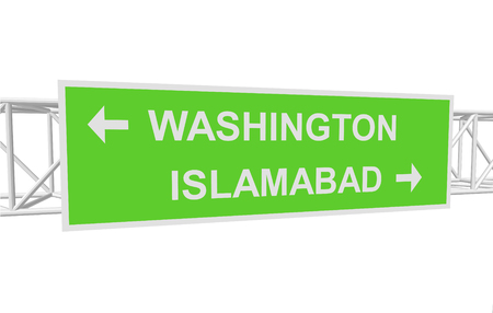 islamabad: three-dimensional illustration of a road sign with directions: WASHINGTON; ISLAMABAD Illustration