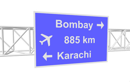 bombay: three-dimensional illustration of a road sign with directions: Bombay; Karachi; distance Illustration