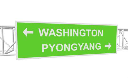 pyongyang: three-dimensional illustration of a road sign with directions: WASHINGTON; PYONGYANG