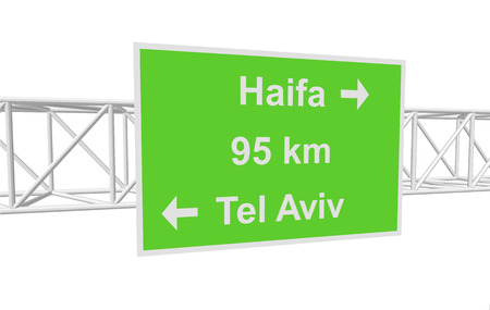 tel aviv: three-dimensional illustration of a road sign with directions: Tel Aviv; Haifa; distance Illustration