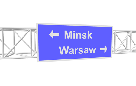 warsaw: three-dimensional illustration of a road sign with directions: Minsk; Warsaw