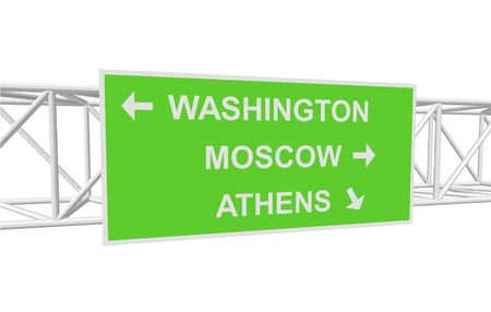 athens: three-dimensional illustration of a road sign with directions: WASHINGTON; MOSCOW; ATHENS