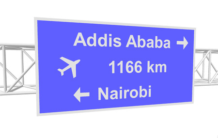 ababa: three-dimensional illustration of a road sign with directions: Addis Ababa; Nairobi; distance