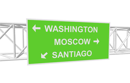 santiago: three-dimensional illustration of a road sign with directions: WASHINGTON; MOSCOW; SANTIAGO Illustration