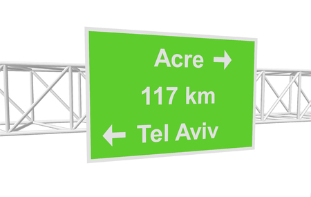 tel aviv: three-dimensional illustration of a road sign with directions: Tel Aviv; Acre; distance Illustration