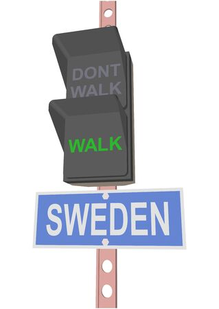 entrance is forbidden: traffic light and a sign with the text SWEDEN Illustration