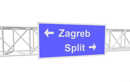 split road: three-dimensional illustration of a road sign with directions: Zagreb; Split