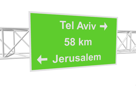 tel aviv: three-dimensional illustration of a road sign with directions: Jerusalem; Tel Aviv; distance