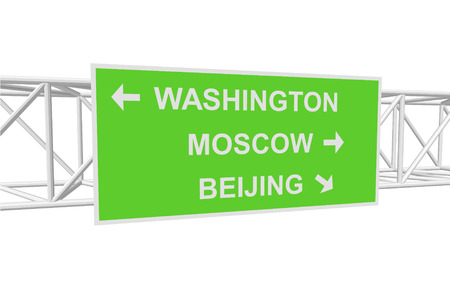 beijing: three-dimensional illustration of a road sign with directions: WASHINGTON; MOSCOW; BEIJING Illustration