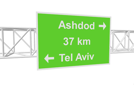 tel aviv: three-dimensional illustration of a road sign with directions: Tel Aviv; Ashdod; distance Illustration
