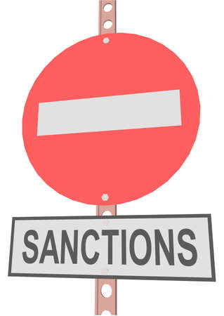 sanction: road sign and a sign with the text SANCTIONS