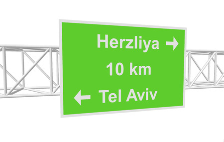 tel aviv: three-dimensional illustration of a road sign with directions: Tel Aviv; Herzliya; distance
