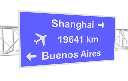 three-dimensional illustration of a road sign with directions: Shanghai; Buenos Aires; distance
