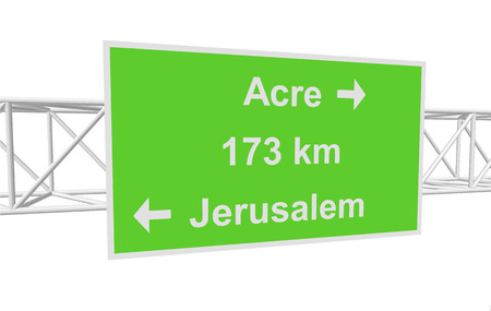 jerusalem: three-dimensional illustration of a road sign with directions: Jerusalem; Acre; distance