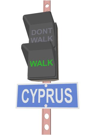 entrance is forbidden: traffic light and a sign with the text CYPRUS
