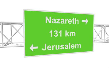 nazareth: three-dimensional illustration of a road sign with directions: Jerusalem; Nazareth; distance Illustration